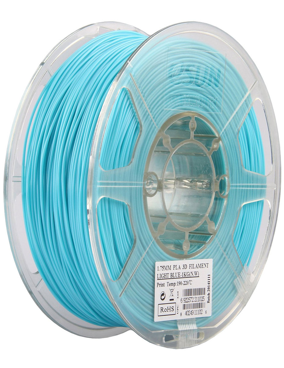 ESUN PLA-пластик в катушке, Light Blue (PLA175D1)PLA175D1Пластик PLA от ESUN долговечный и очень прочный полимер, ударопрочный, эластичный и стойкий к моющим средствам и щелочам. Один из лучших материалов для печати на 3D принтере. Пластик не имеет запаха и не является токсичным. Температура плавления190-220°C. PLA пластик для 3D-принтера применяется в деталях автомобилей, канцелярских изделиях, корпусах бытовой техники, мебели, сантехники, а также в производстве игрушек, сувениров, спортивного инвентаря, деталей оружия, медицинского оборудования и прочего.Диаметр нити: 1.75 мм