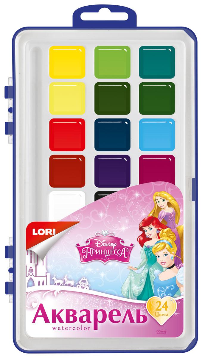 Lori Акварель Disney Принцессы, 24 цвета пластилин lori принцессы 12 цветов