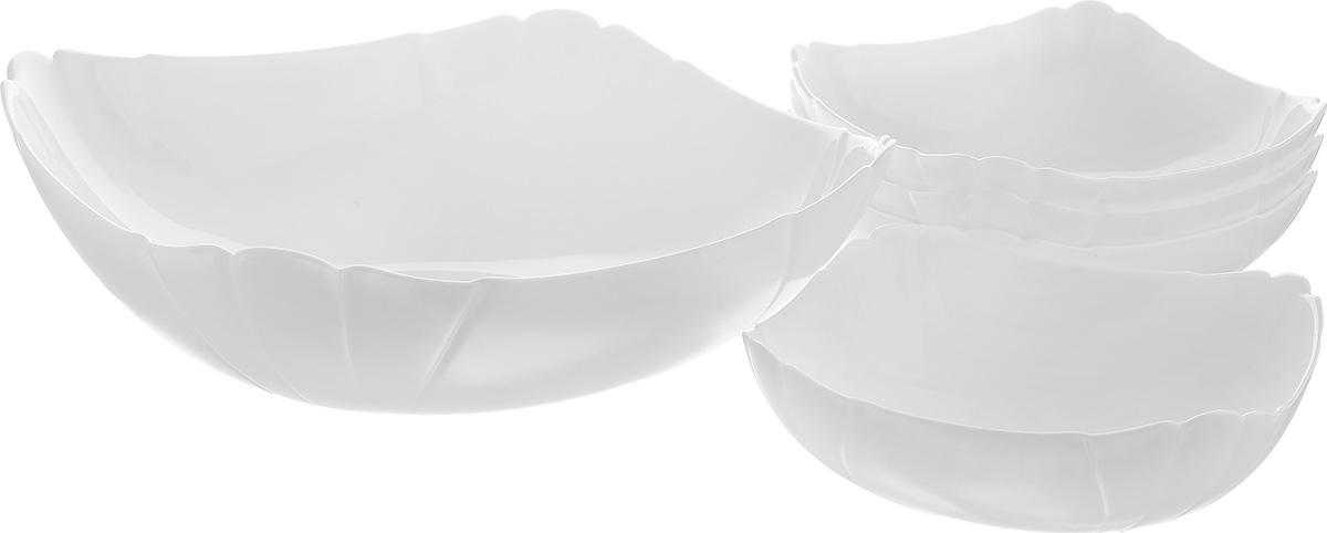 Набор салатников Luminarc Lotusia, 5 предметовJ3189Набор Luminarc Lotusia включает в себя 4 маленьких салатника и 1 большой. Изделия выполнены из высококачественного стекла. Салатники отлично подойдут для сервировки стола. Оригинальность дизайна набора придется по вкусу и ценителям классики, и тем, кто предпочитает утонченность и изысканность.Размер большого салатника по верхнему краю: 24,5 см х 24,5 см.Диаметр дна большого салатника: 11 см.Высота большого салатника: 7 см.Размер маленьких салатников по верхнему краю: 15 см.Диаметр дна маленьких салатников: 7 см.Высота маленьких салатников: 5,5 см.