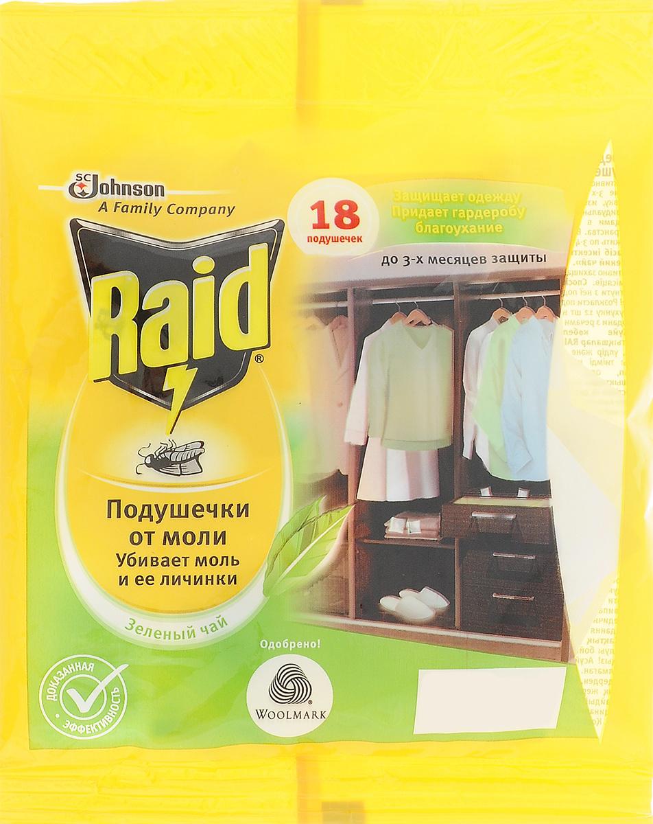"Подушечка от моли ""Raid"", зеленый чай, 18 шт"