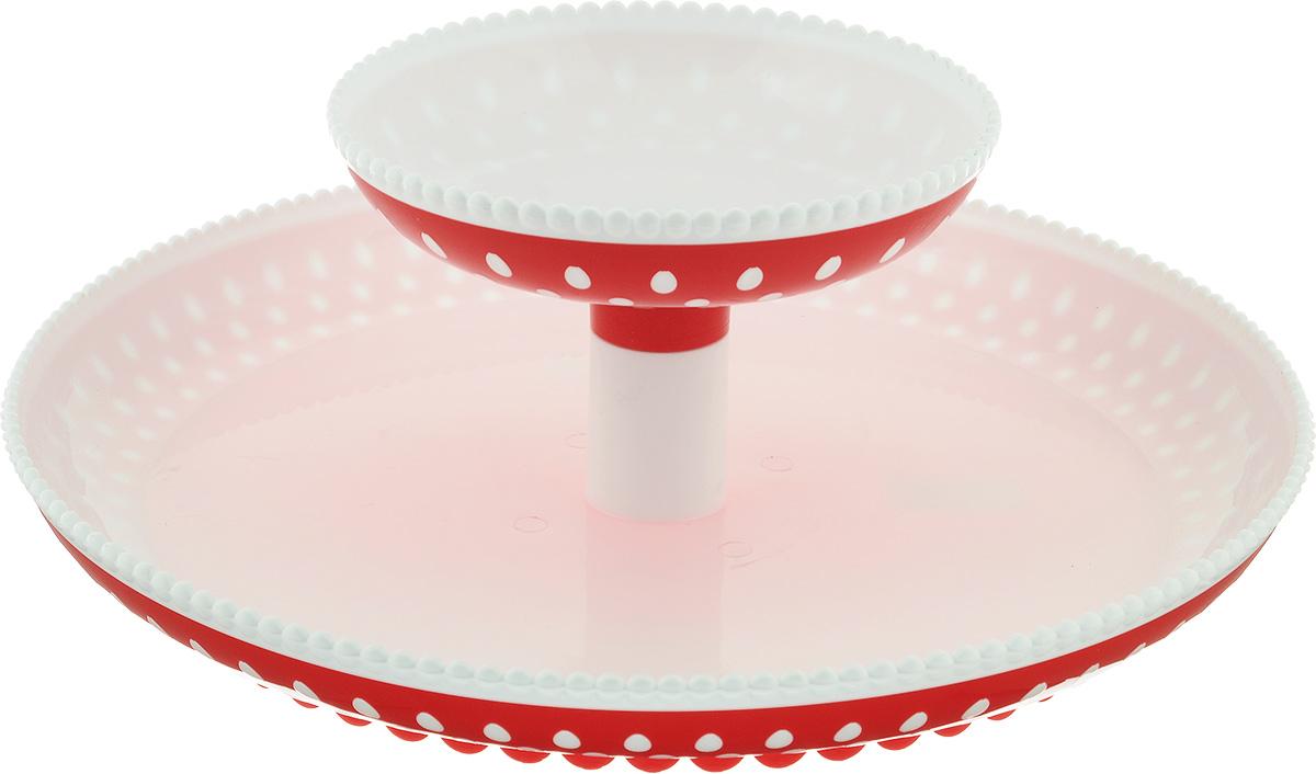 Фруктовница двухъярусная Альтернатива Горошек, цвет: красный, белый