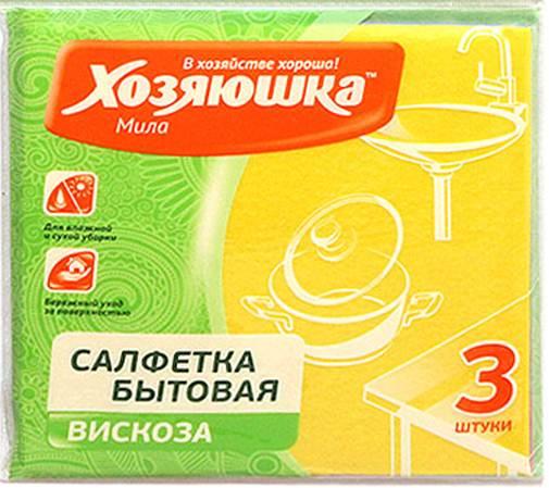 Салфетка бытовая Хозяюшка Мила, цвет: желтый, 35 х 35 см, 3 шт4001 желтыйСалфетка бытовая Хозяюшка Мила, выполненная из вискозы и полипропилена, хорошо впитывает влагу и легко выжимается. Отлично удаляет пыль, не оставляет разводов и ворсинок. Салфетка может использоваться для ухода за всеми видами поверхностей: деревянной и ламинированной мебели, кухонной мебели, кафеля, раковин.Размер салфетки: 35 см х 35 см.Комплектация: 3 шт.