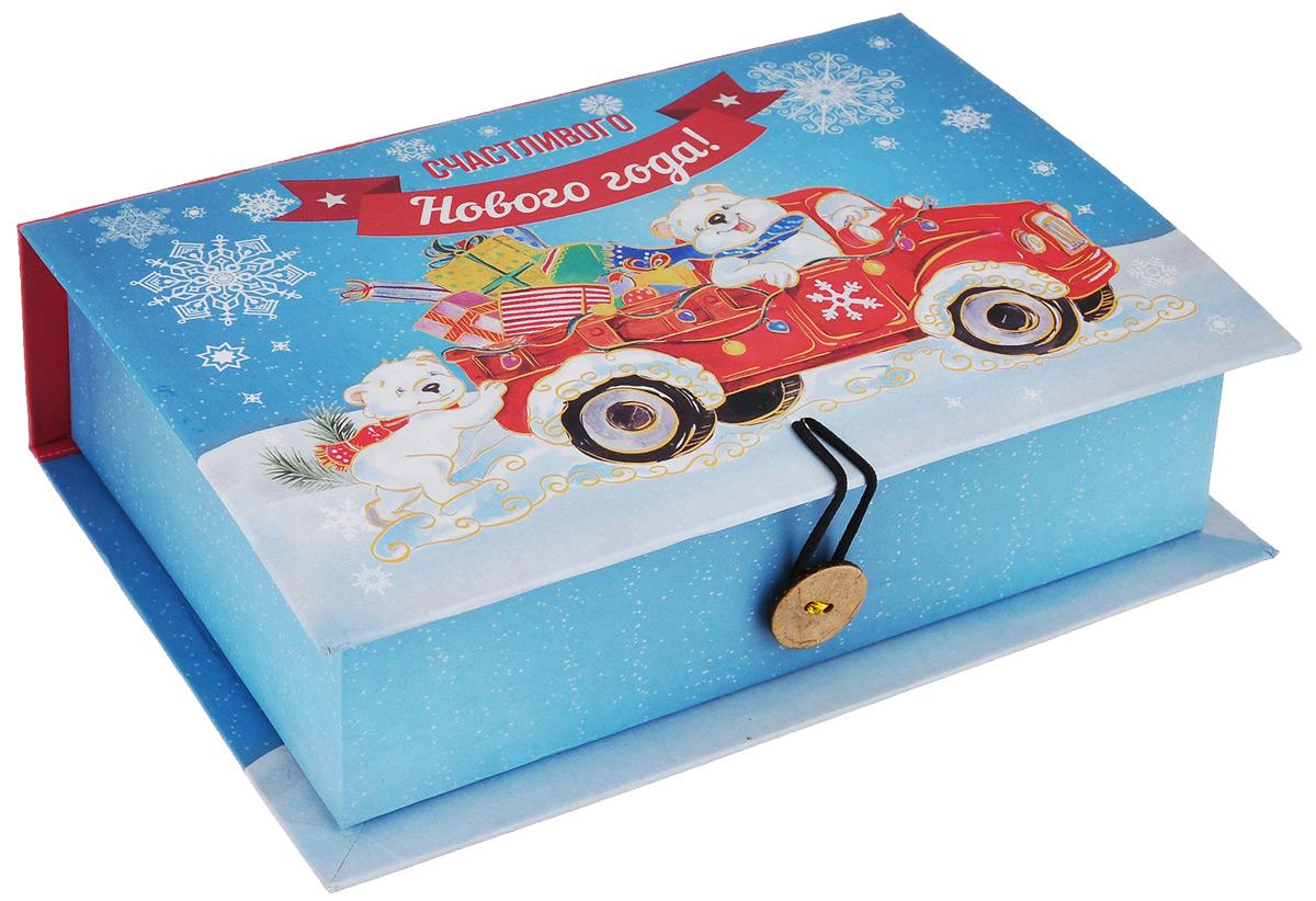 Подарочная коробка Феникс-Презент Медвежата и автомобиль, 18 х 12 х 5 см39255Подарочная коробка Феникс-Презент Медвежата и автомобиль выполнена из плотного мелованного картона плотностью 1100 г/м2. Крышка оформлена ярким изображением белых мишек в автомобиле с подарками. Коробка закрывается на пуговицу. Подарочная коробка - это наилучшее решение, если вы хотите порадовать ваших близких и создать праздничное настроение, ведь подарок, преподнесенный в оригинальной упаковке, всегда будет самым эффектным и запоминающимся. Окружите близких людей вниманием и заботой, вручив презент в нарядном, праздничном оформлении.
