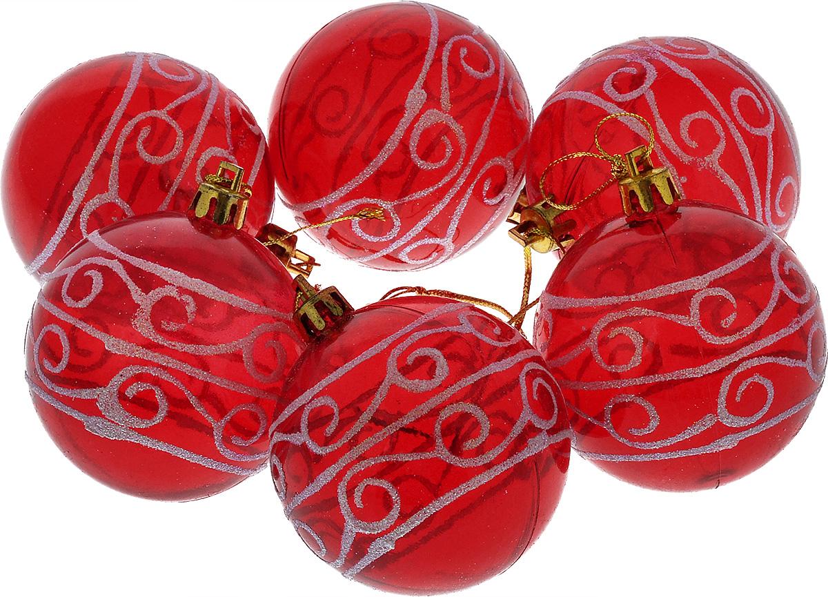 """Набор новогодних подвесных украшений """"Euro House"""", цвет: красный, диаметр 6 см, 6 шт. ЕХ 9238"""