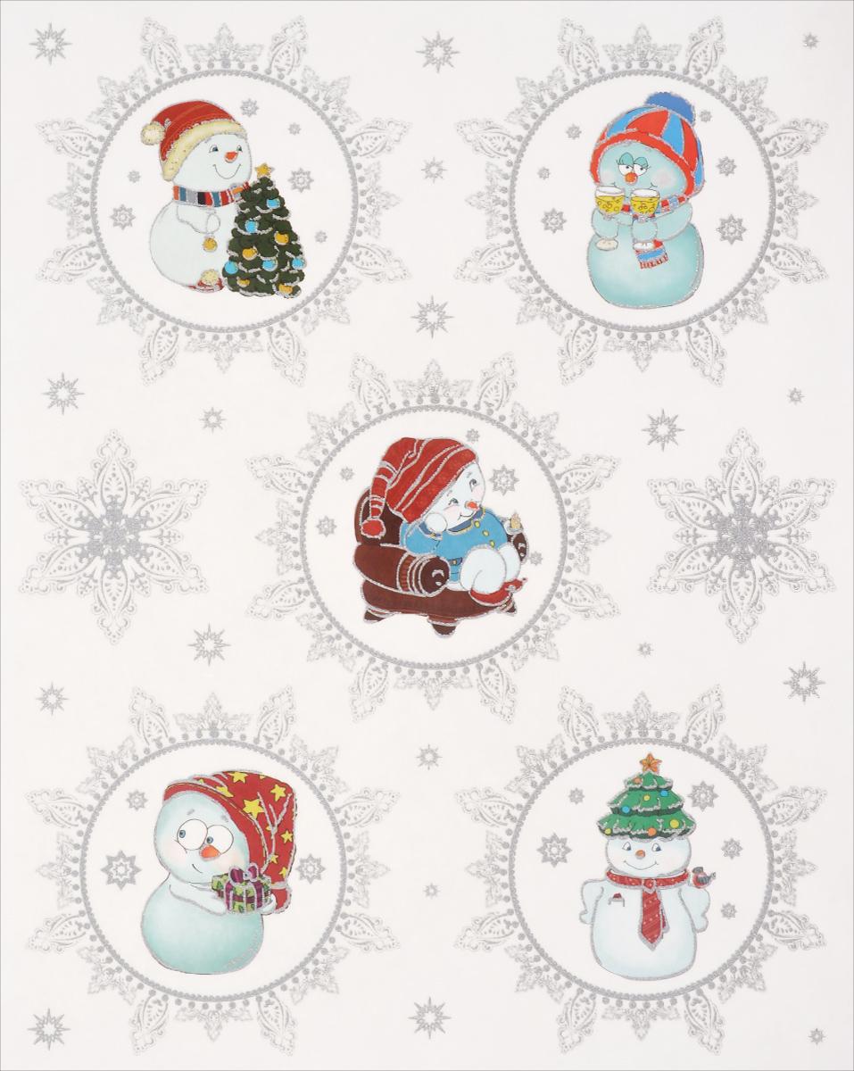 Новогоднее оконное украшение Феникс-Презент Веселые снеговики феникс презент наклейки на окно елочные игрушки 30 38 см