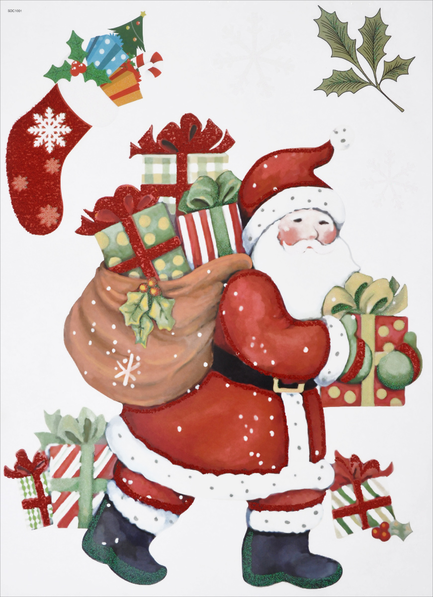Новогоднее оконное украшение EuroHouse Дед МорозЕХ 11028Новогоднее оконное украшение EuroHouse Дед Мороз поможет украсить дом к предстоящим праздникам. Яркие изображения в виде Деда Мороза, подарков и снежинок нанесены на прозрачную клейкую пленку. Рисунки декорированы цветными блестками. Наклейки изготовлены из ПВХ. С помощью этих украшений вы сможете оживить интерьер по своему вкусу: наклеить их на окно, на зеркало или на дверь.Новогодние украшения всегда несут в себе волшебство и красоту праздника. Создайте в своем доме атмосферу тепла, веселья и радости, украшая его всей семьей. Размер листа: 30 см х 40 см. Размер самой большой наклейки: 29,5 см х 23 см. Размер самой маленькой наклейки: 4 см х 4 см.