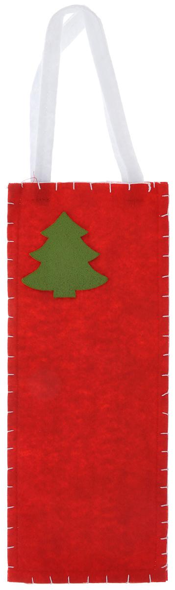 Новогодний мешочек для подарка Феникс-презент Новогодняя елка, цвет: красный, зеленый, 14 х 34 см