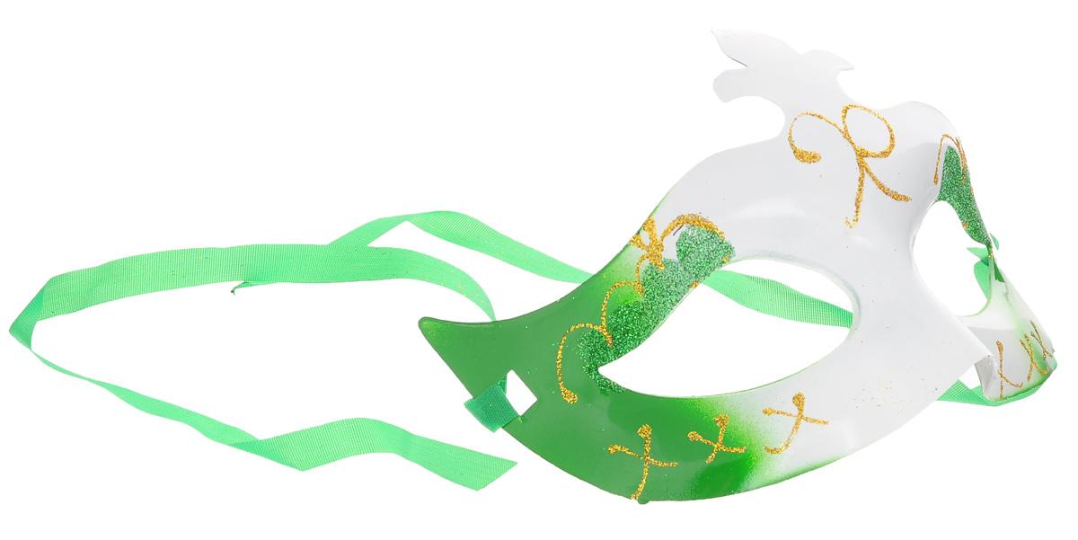 """Маска карнавальная Феникс-презент """"Фигурная"""", цвет: белый, зеленый"""