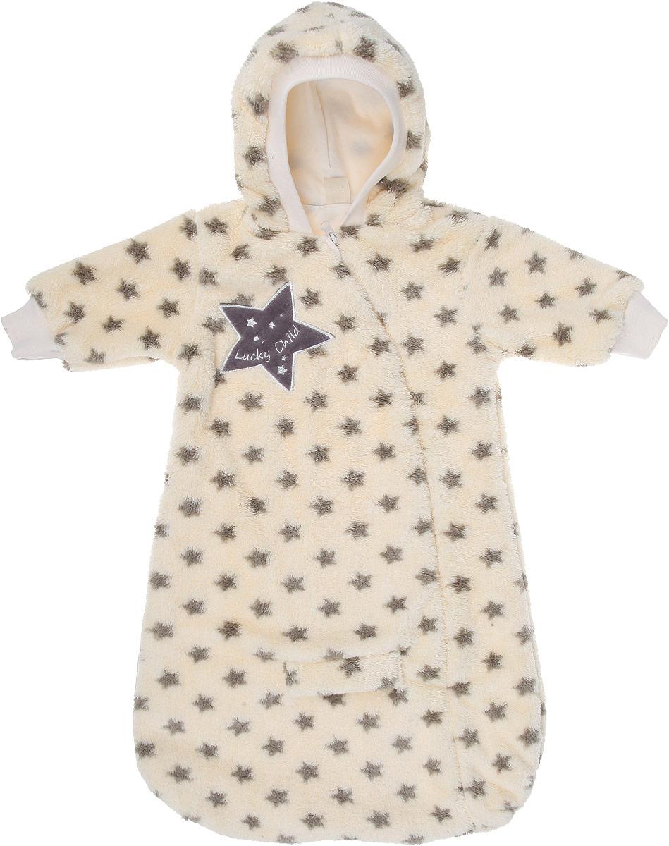 Конверт детский Lucky Child Велсофт, цвет: бежевый. 25-1. Размер 62/68, 2-3 месяца