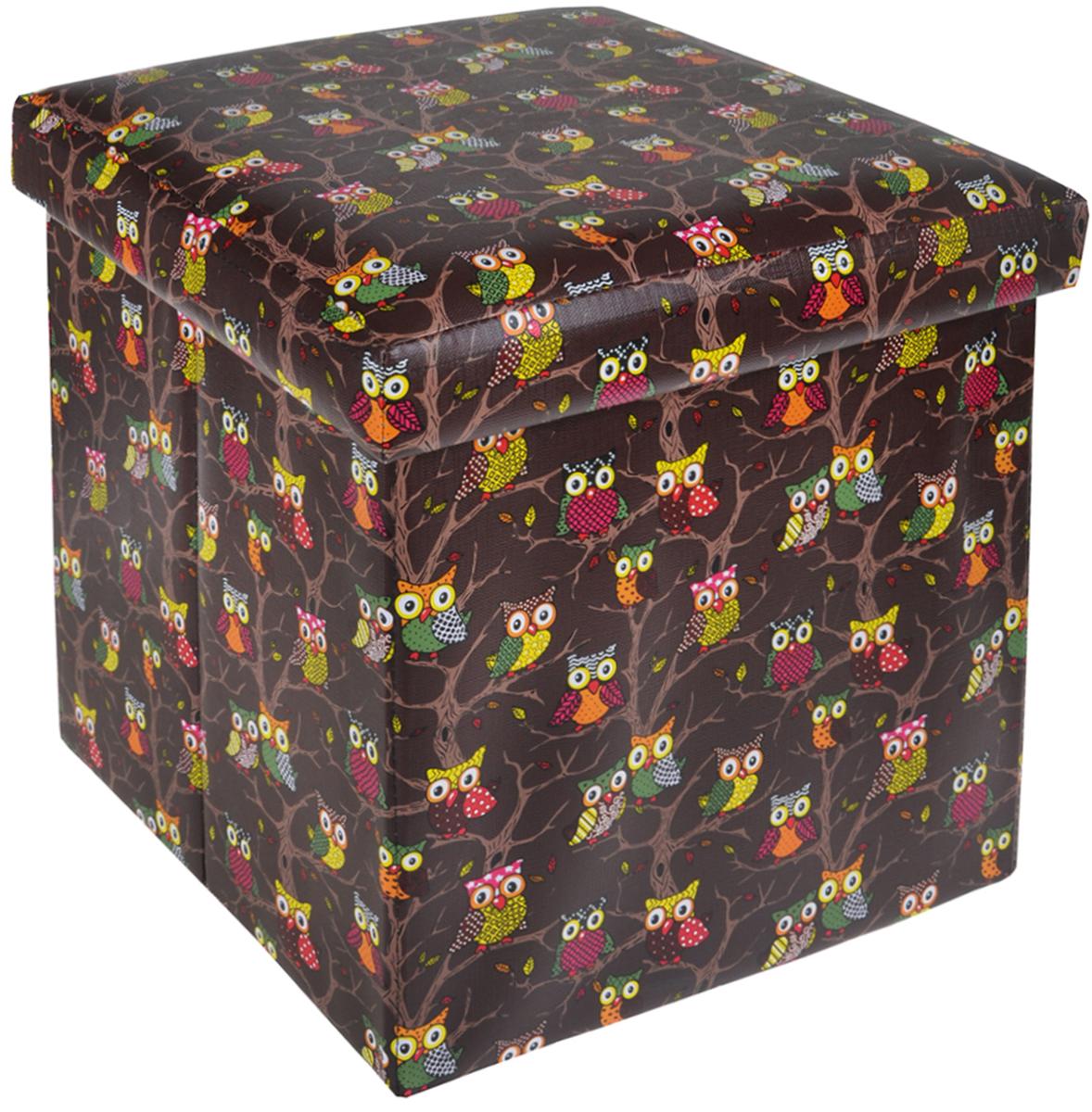 Пуфик складной El Casa Совы, с ящиком для хранения, цвет: коричневый, 35 см х 35 см х 35 см171151Складной пуфик El Casa Совы, выполненный из МДФ и экокожи, понравится всем ценителяморигинальных вещей. Благодаря удобной конструкции складывается и раскладывается однимдвижением. В сложенном виде изделие занимает минимум места, его легко хранить и перевозить.В таком пуфике можно хранить всевозможные предметы: книги, игрушки, рукоделие. Яркий дизайн привнесет в ваш интерьер неповторимый шарм.Размер пуфика (в собранном виде): 35 см х 35 см х 35 см.