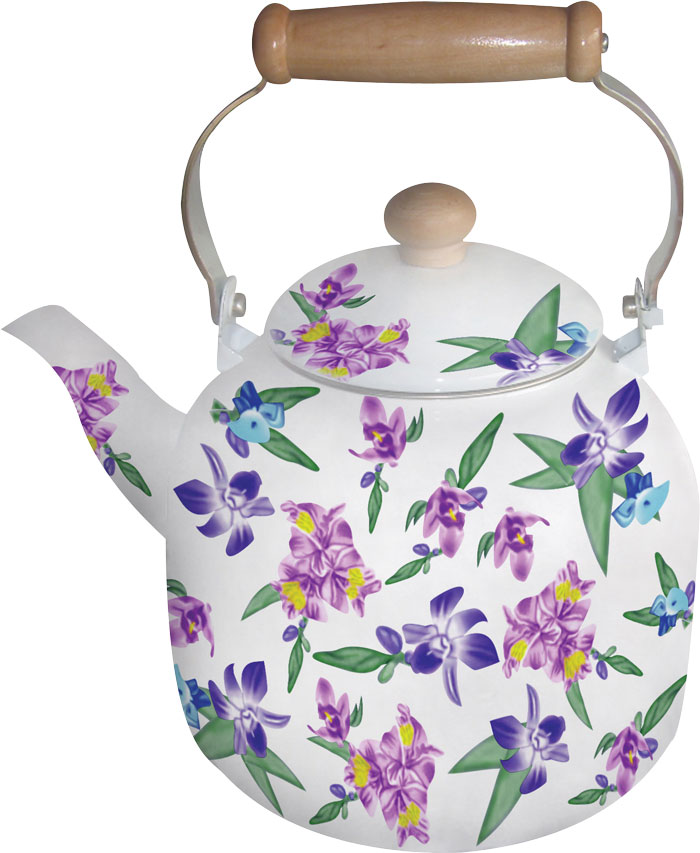 Чайник эмалированный Bohmann, цвет: зеленый, сиреневый, фиолетовый, 7 л чайник bohmann bhl 645bk