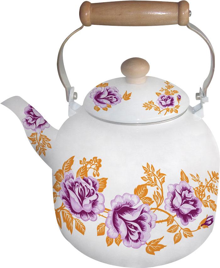 Чайник эмалированный Bohmann, цвет: оранжевый, сиреневый, белый, 7 л чайники для плиты vetta чайник эмалированный