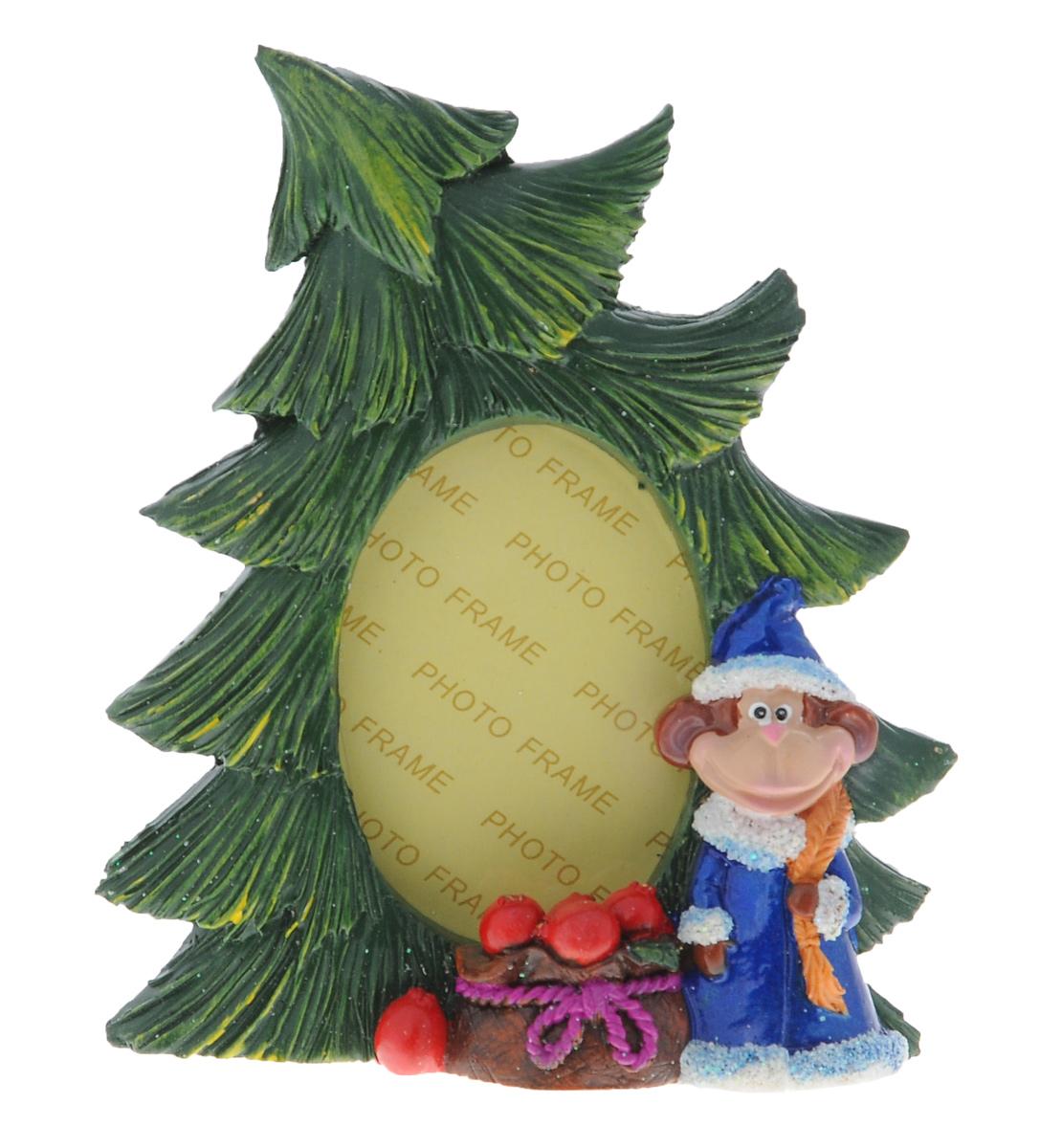 Фоторамка Sima-land Елочка с обезьянкой Снегурочкой, цвет: зеленый, синий, 8 см х 5 см фоторамка sima land под телефон цвет белый 10 см х 15 см