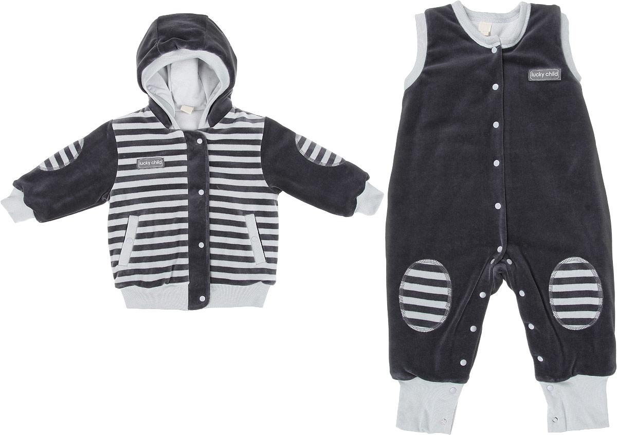 Комплект детский Lucky Child Велюр: куртка, комбинезон, цвет: серый. 5-7. Размер 56/62, 0-3 месяца5-7Детский утепленный комплект Lucky Child Велюр, состоящий из куртки и комбинезона, идеально подойдет вашему ребенку в прохладную погоду. Выполненный из хлопка с добавлением полиэстера, он удивительно мягкий и приятный на ощупь, не сковывает движения ребенка и позволяет коже дышать, не раздражает даже самую нежную и чувствительную кожу ребенка, обеспечивая ему наибольший комфорт. В качестве утеплителя используется синтепон. Он хорошо удерживает тепло и восстанавливает свою форму. Подкладка куртки и комбинезона изготовлена из 100% хлопка. Куртка с капюшоном и длинными рукавами застегивается на молнию с ветрозащитной планкой на кнопках по всей длине. Манжеты рукавов, край капюшона и низ изделия дополнены трикотажными резинками. Спереди предусмотрены два втачных кармашка на кнопках.Комбинезон с открытыми ножками имеет застежки-кнопки от горловины до пяточек, которые помогают легко переодеть младенца или сменить подгузник. Низ брючин дополнен широкими трикотажными манжетами.Модель оформлена принтом в полоску, а также небольшими нашивками с названием бренда. Отличное качество, дизайн и расцветка делают этот комплект незаменимым предметом детского гардероба. В нем вашему ребенку будет тепло, комфортно и уютно!