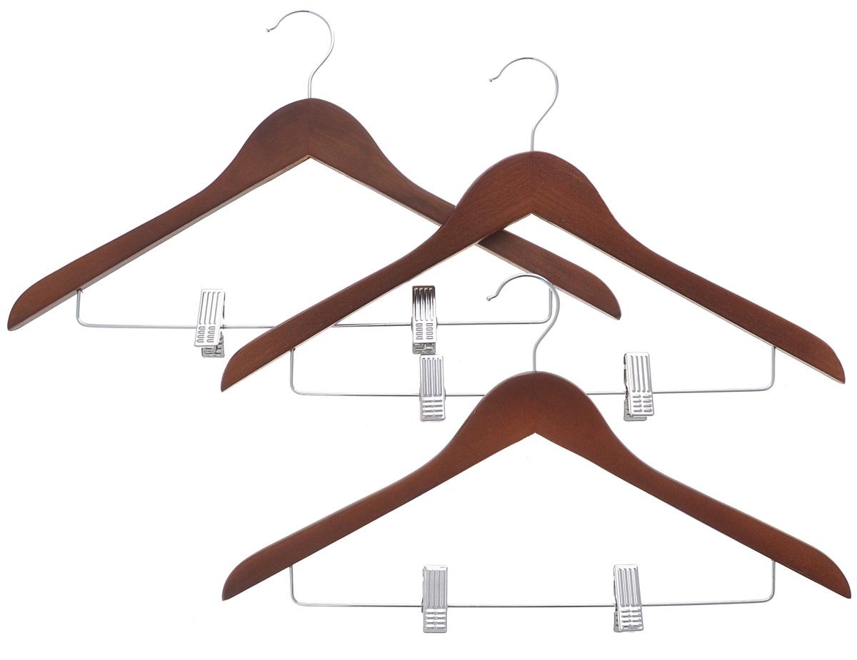 Набор вешалок El Casa Орех, с зажимами, 3 шт150066Набор El Casa Орех, состоящий из трех вешалок, изготовленных из прочной натуральной древесины и металла,выдерживает нагрузку до 7 кг и имеет вращающийся крючок. Благодаря перекладине с зажимамиизделия идеально подходят для хранения юбок, брюк и прочих вещей.Вешалка - это незаменимая вещь для того, чтобы ваша одежда всегда оставаласьв хорошем состоянии.Комплектация: 3 шт.Размер вешалки: 45 см х 26 см х 1,3 см.