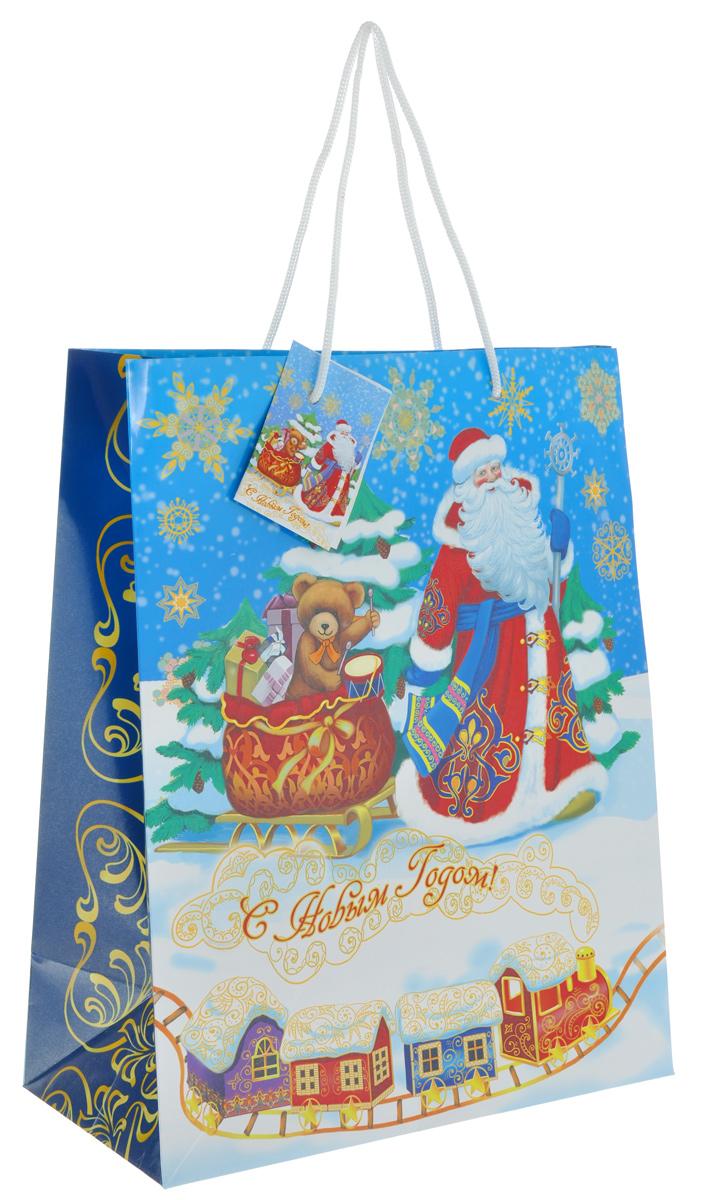 Бумажный подарочный пакет Феникс-Презент Дед Мороз и медвежонок, 23 х 18 х 10 см38532Подарочный пакет Феникс-презент Дед Мороз и медвежонок изготовлен из плотной бумаги и декорирован новогодним принтом. Он станет незаменимым дополнением к выбранному подарку. Дно изделия укреплено картоном, который позволяет сохранить форму пакета, и исключает возможность деформации дна под тяжестью подарка. Для удобной переноски на пакете имеются две ручки из шнурков. Подарок, преподнесенный в оригинальной упаковке, всегда будет самым эффектным и запоминающимся. Окружите близких людей вниманием и заботой, вручив презент в нарядном, праздничном оформлении. Плотность бумаги: 140 г/м2.