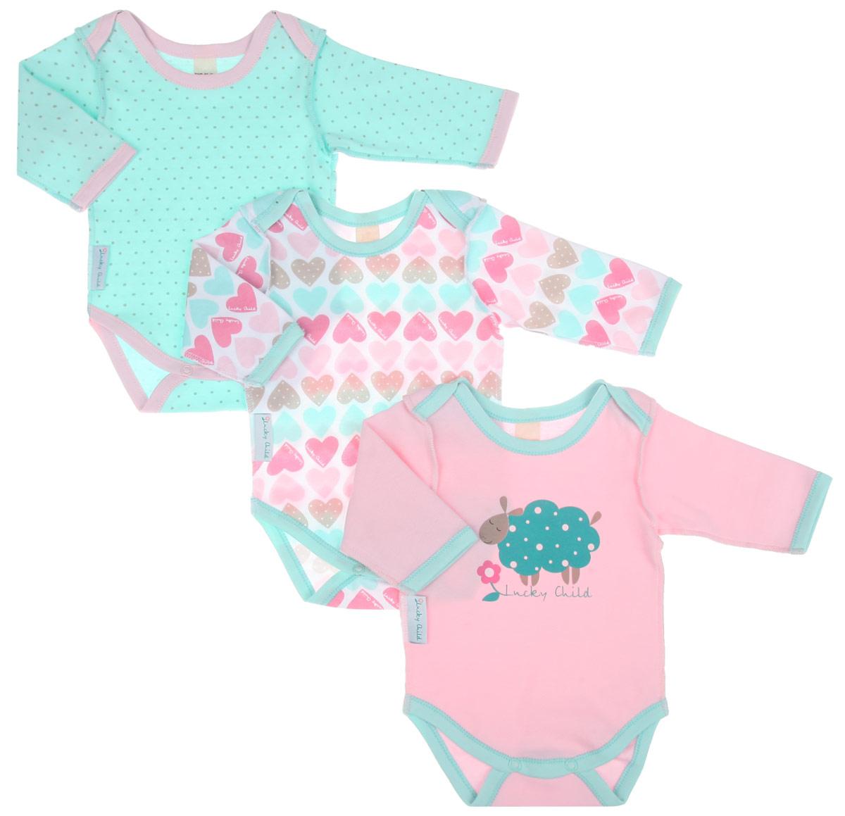 Боди для девочки Lucky Child Овечки, цвет: белый, розовый, светло-зеленый. 30-142. Размер 80/86, 12-18 месяцев lucky child комплект детский боди 3 шт овечки 30 142 3шт