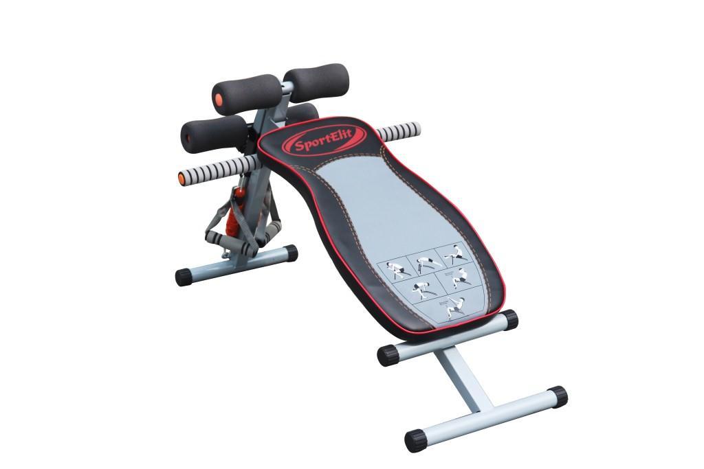 Скамья для пресса Sport Elit, цвет: черный, серый, SE-610 велотренажер sport elit цвет серый синий 88 5 см х 47 см х 120 5 см