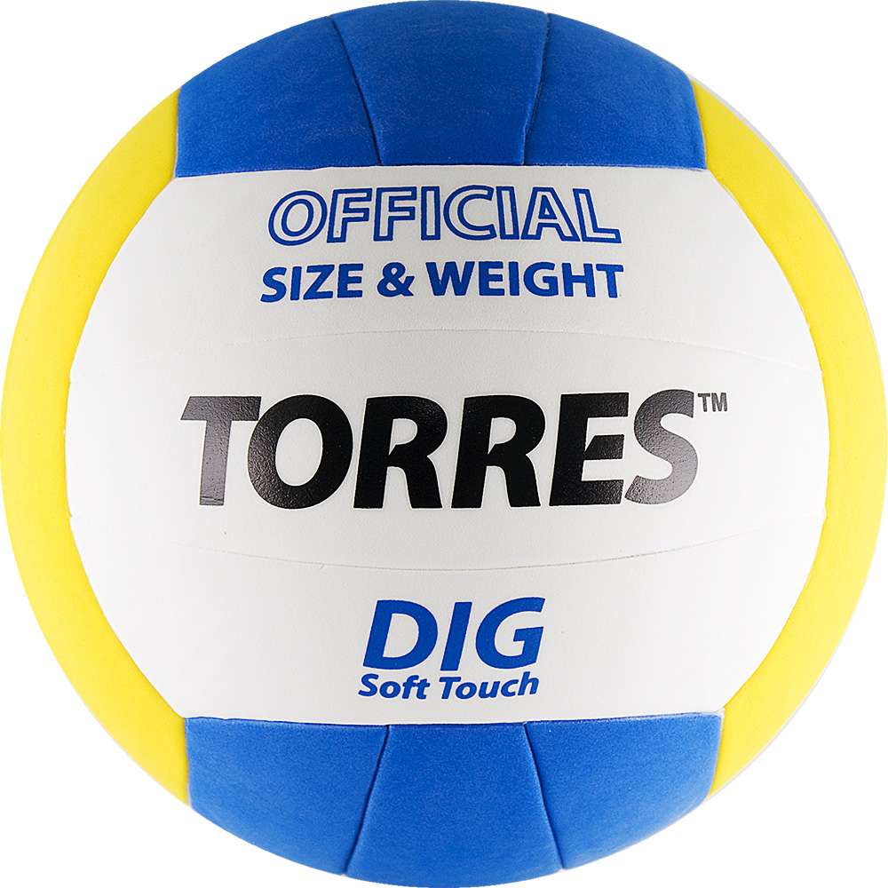 Мяч волейбольный Torres Dig, цвет: белый, желтый, синий. Размер 5. V20145 мяч волейбольный torres set р 5