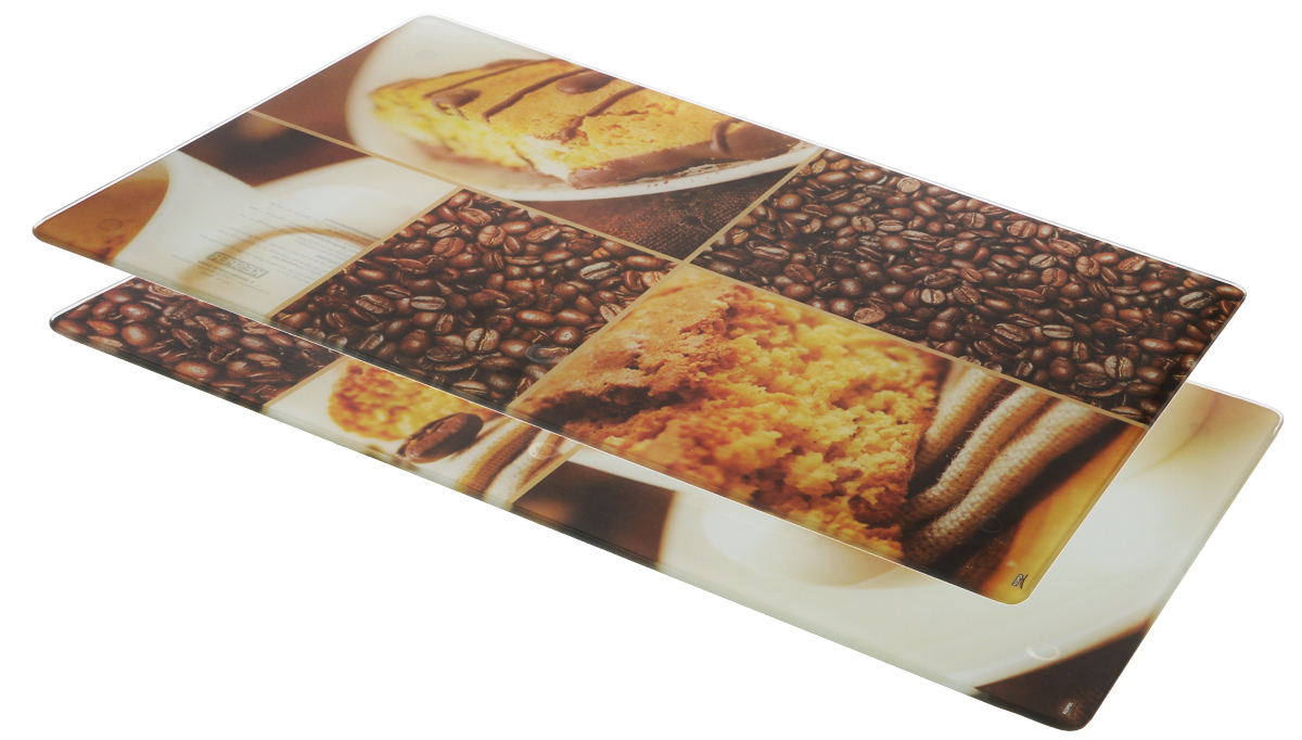 """Набор Kesper """"Кофе"""" состоит из двух прямоугольных разделочных досок, изготовленных из гладкого закаленного стекла с ярким рисунком. Стеклянные доски устойчивы к повреждениям и не впитывают запахи, идеально подходят для разделки мяса, рыбы, приготовления теста и для нарезки любых продуктов. Доски можно использовать как подставки под горячее, так как они выдерживают температуру до 280°C. Силиконовые ножки, расположенные на основании, не позволят разделочной доске скользить по столу."""