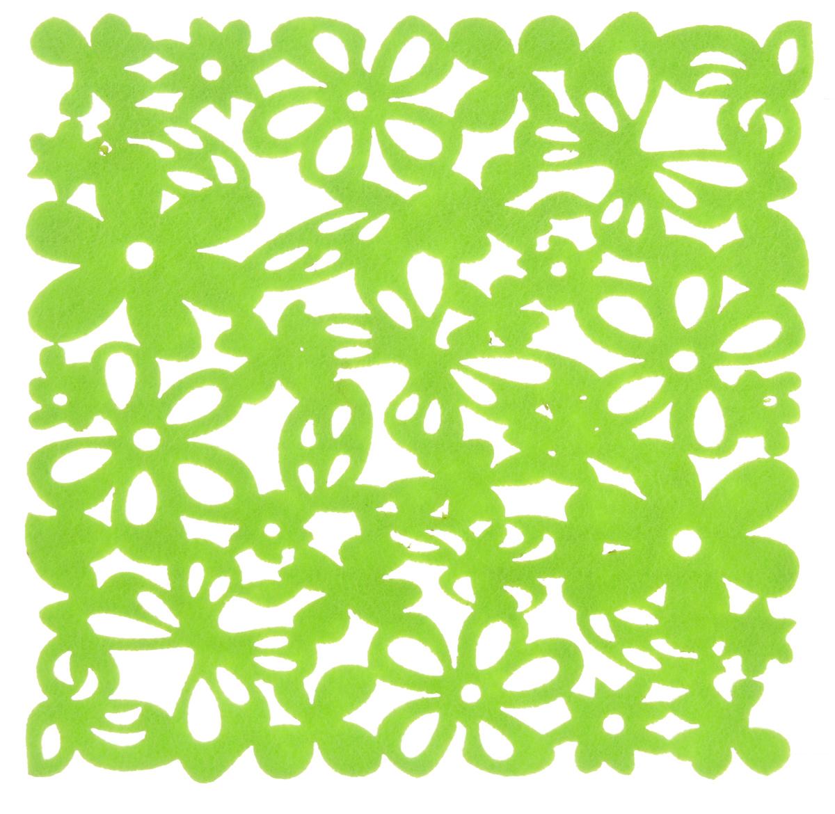 Салфетка-подставка под горячее Blumen Haus, цвет: салатовый, 20 х 20 см. 8201582015_салатовыйКвадратная салфетка-подставка под горячее Blumen Haus изготовлена из фетра и оформлена изысканной перфорацией. Она прекрасно подойдет для украшения интерьера кухни.Каждая хозяйка знает, что подставка под горячее - это незаменимый и очень полезный аксессуар на кухне. Ваш стол будет не только украшен оригинальной подставкой, но и защищен от воздействия высоких температур ваших кулинарных шедевров.