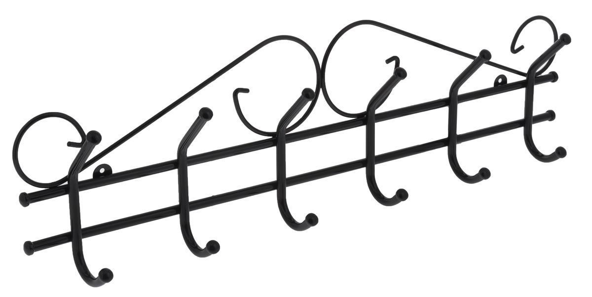 Вешалка настенная ЗМИ Ажур 6, цвет: черный, 6 крючковВНА 201_черныйНастенная вешалка ЗМИ Ажур 6 изготовлена из прочной стали с полимерным покрытием. Изделие оснащено 6 крючками для одежды. Вешалка крепится к стене при помощи двух шурупов (не входят в комплект).Вешалка ЗМИ Ажур 6 идеально подходит для маленьких прихожих и ограниченных пространств.