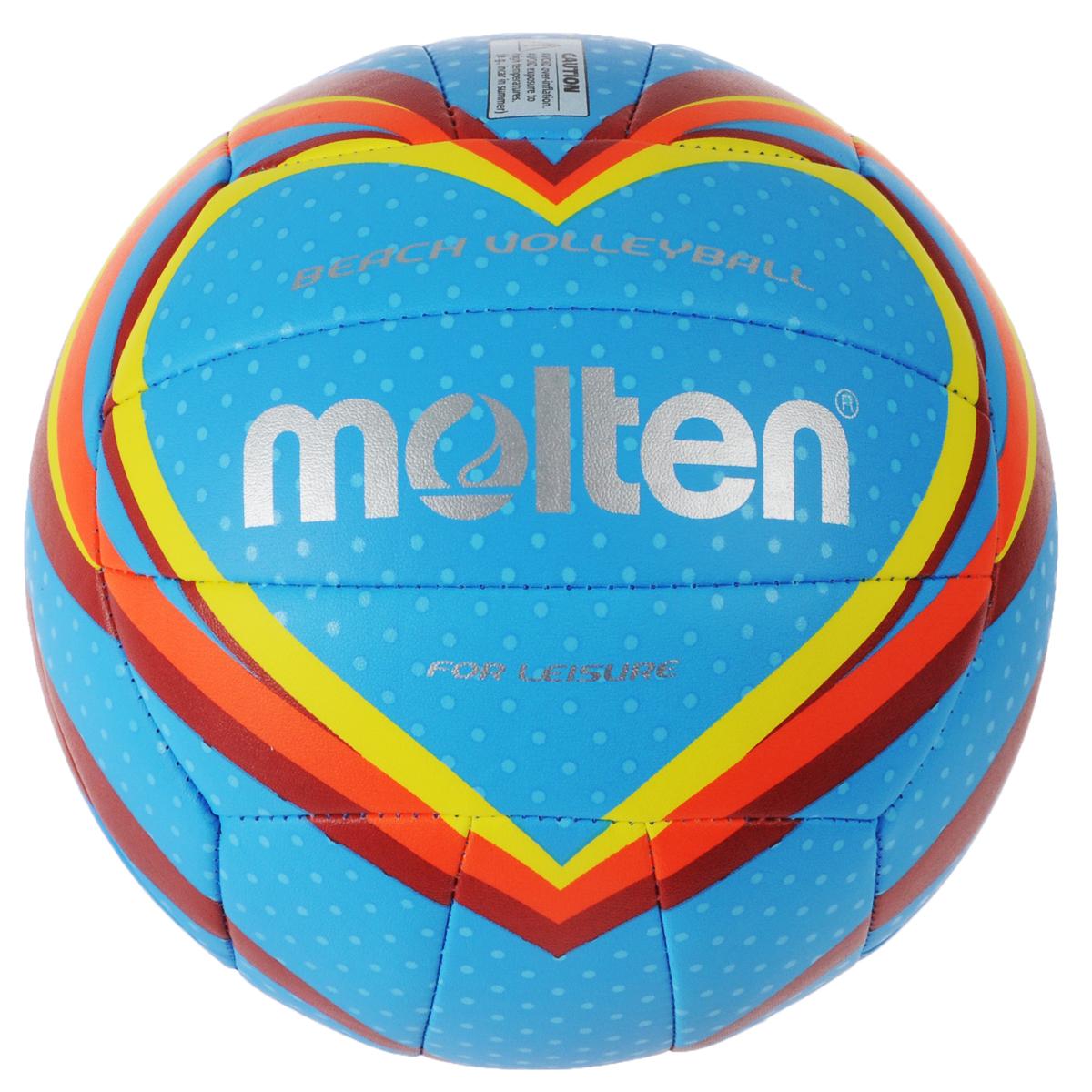 Мяч для пляжного волейбола Molten, цвет: голубой. Размер 5V5B1501-BМяч для пляжного волейбола Molten изготовлен из мягкой синтетической кожи, обеспечивающей мягкий контакт с рукой. Отличные игровые характеристики. Ручное шитье. Имеет официальный вес и размер.