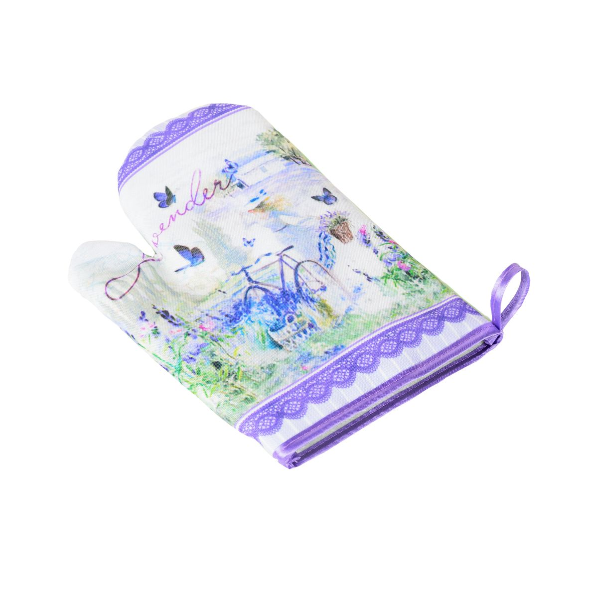 Варежка-прихватка GiftnHome TEX-01 Лаванда, цвет: фиолетовый, 25 х 17 смTEX-01 ЛавандаВарежка-прихватка GiftnHome TEX-01 Лаванда - незаменимый помощник на любой кухне. Варежка выполнена из качественного текстиля и оформлена красивым рисунком. Варежка мягкая, удобная и практичная. С ее помощью можно доставатьгорячие противни из духовки, она защитит ваши руки и предотвратит появление ожогов. Красочный дизайнпозволит красиво дополнить интерьер кухни. С помощью петельки варежку можно подвесить на крючок.