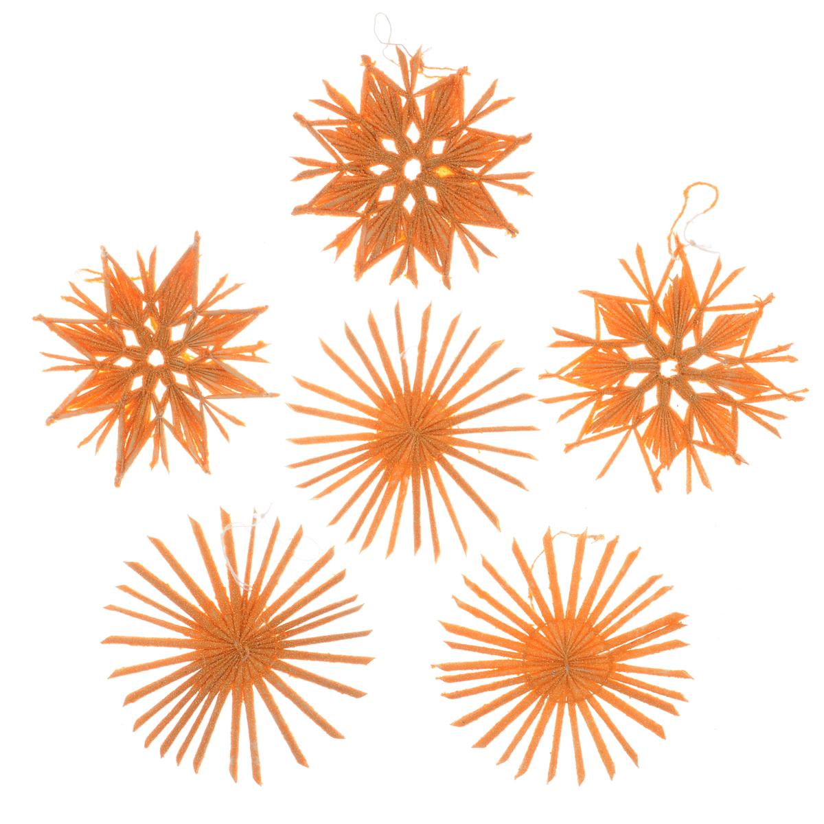 Набор новогодних подвесных украшений Феникс-презент Звезды, цвет: оранжевый, 6 шт набор новогодних украшений феникс презент бант цвет лиловый 12 шт 39193