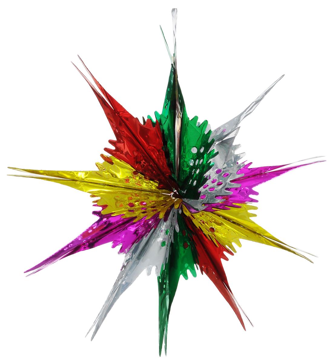 Новогоднее подвесное украшение Феникс-Презент Звезда ажурная, цвет: зеленый, красный, желтый30966Новогоднее украшение Феникс-Презент Звезда ажурная отлично подойдет для декорации вашего дома и новогодней ели. Украшение выполнено из ПЭТ (полиэтилентерефталата) в форме многогранной разноцветной звезды. С помощью специальной петельки звезду можно повесить в любом понравившемся вам месте. Украшение легко складывается и раскладывается благодаря металлическим кольцам. Новогодние украшения несут в себе волшебство и красоту праздника. Они помогут вам украсить дом к предстоящим праздникам и оживить интерьер по вашему вкусу. Создайте в доме атмосферу тепла, веселья и радости, украшая его всей семьей.