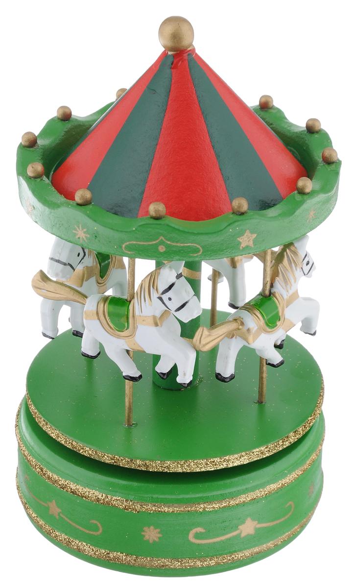 Новогодняя декоративная фигурка Феникс-Презент Карусель. Лошадка, музыкальная, цвет: зеленый, красный, высота 18,5 см35269Новогодняя декоративная фигурка Феникс-Презент Карусель. Лошадка, изготовленная из древесины тополя и металла, выполнена в виде карусели, оформленной четырьмя маленькими фигурами лошадок. Изделие имеет музыкальный ручной механизм, при заводе которого лошадки начинают круговое движение и звучит мелодия к песне Маленькой елочке холодно зимой. Оригинальный дизайн украшения, несомненно, привлечет внимание. Кроме того, это отличный вариант подарка для ваших близких и друзей.Размер: 10,5 см х 10,5 см х 18,5 см.