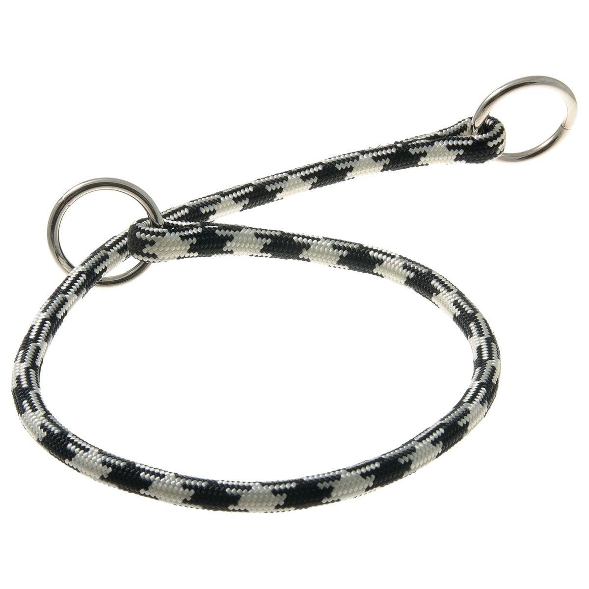 Ошейник-удавка с 2-я кольцами круглый Арлекин 8 мм*50 см (черно-белый)