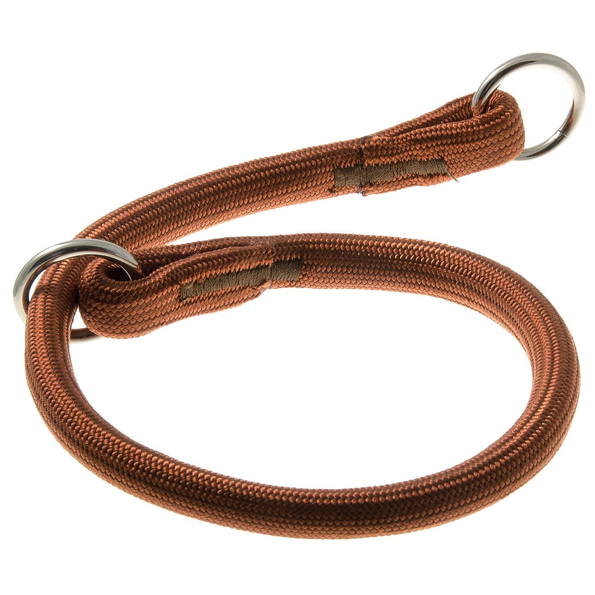 Ошейник-удавка с 2-я кольцами круглый 13 мм*50 см (коричневый)