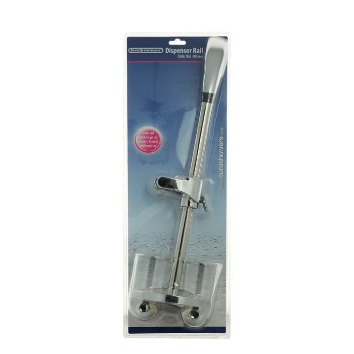 """Душевая стойка """"Dispenser Rail"""" выполнена из пластика и латуни цвета хрома. Душевая стойка оснащена держателем для душа, двумя дозаторами для жидкого мыла и мыльницей. Крепится на стену с помощью шурупов (входят в комплект). На задней стороне упаковки нарисована подробная инструкция по сборке стойки. Характеристики:Материал: ПВХ, пластик, латунь. Цвет: хром. Высота стойки: 60 см. Диаметр отверстия для душа: 2 см. Диаметр дозатора для мыла: 7 см. Размер упаковки: 24 см х 71 см х 18 см. Производитель: Великобритания. Изготовитель: Китай. Артикул: 53220."""