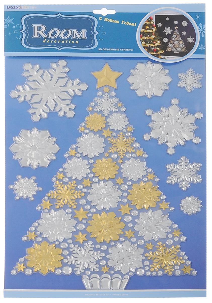 Наклейки для интерьера Room Decoration Елка со снежинками, объемные, 41 х 29 см наклейки для интерьера room decoration цветы и бабочки 60 см х 32 см