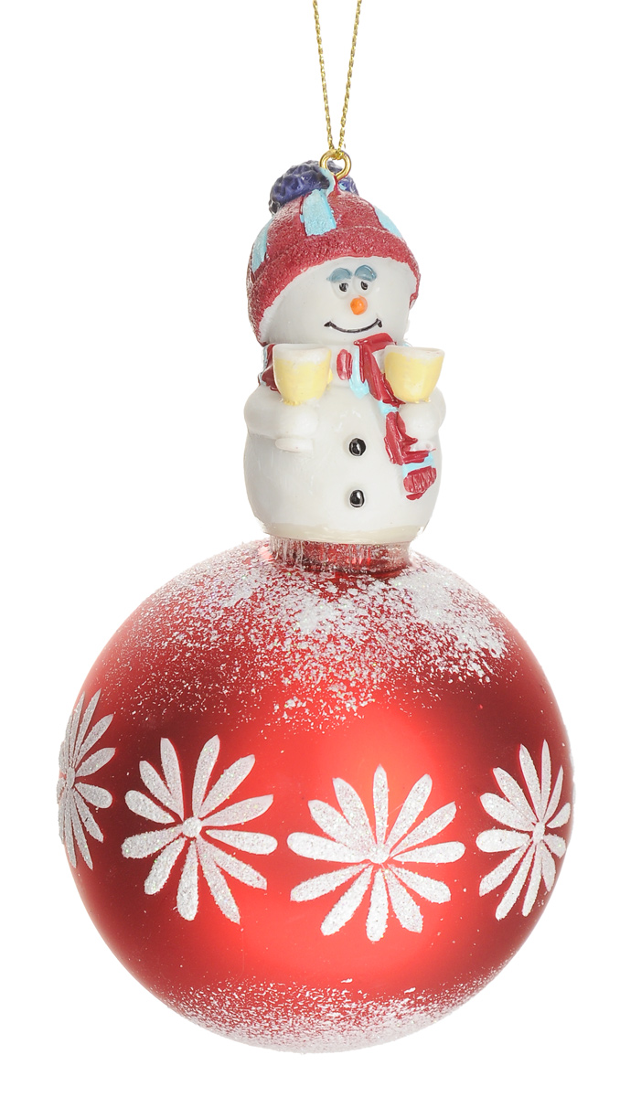 """Новогоднее подвесное украшение Феникс-Презент """"Снеговик и праздник"""", диаметр 8 см"""