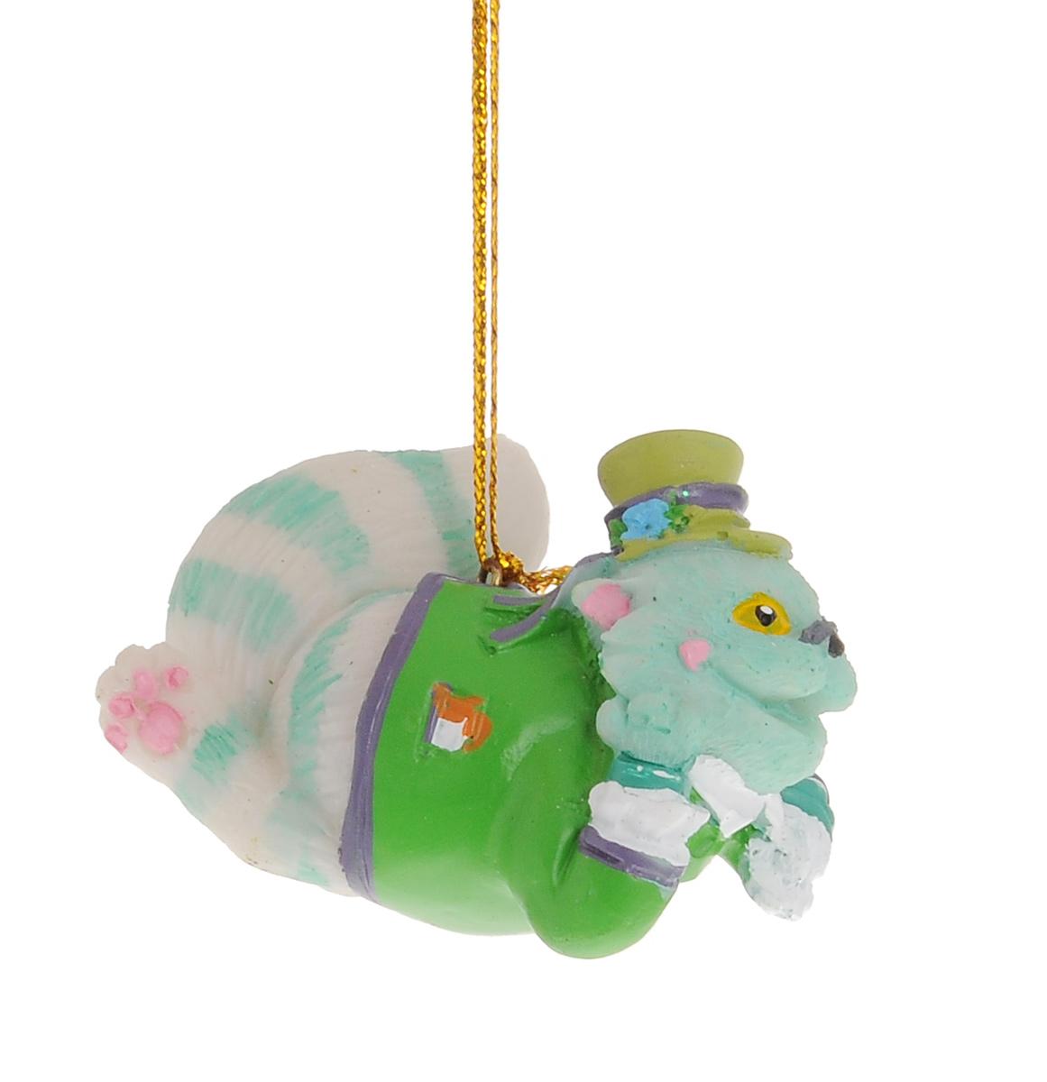 Новогоднее подвесное украшение Феникс-презент Чеширский кот38262Новогоднее украшение Феникс-презент Чеширский кот отлично подойдет для декорации вашего дома и праздничной ели. Изделие выполнено из полирезина в виде кота в шляпе и оснащено текстильной петелькой для подвешивания.Елочная игрушка - символ Нового года. Она несет в себе волшебство и красоту праздника. Создайте в своем доме атмосферу веселья и радости, украшая всей семьей новогоднюю елку нарядными игрушками, которые будут из года в год накапливать теплоту воспоминаний.
