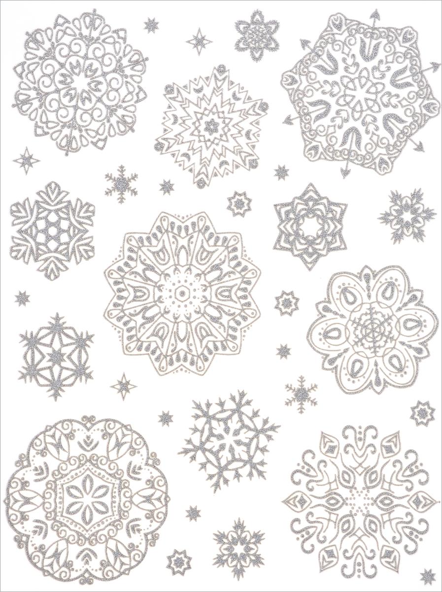 Новогоднее оконное украшение Феникс-Презент Снежинки. 3864138641Новогоднее оконное украшение Феникс-Презент Снежинки поможет украсить дом к предстоящимпраздникам. На одном листе расположены наклейки в виде снежинок, декорированные блестками. Наклейки изготовлены из ПВХ.С помощью этих украшений вы сможете оживить интерьер по своему вкусу, наклеить их на окно, на зеркало.Новогодние украшения всегда несут в себе волшебство и красоту праздника. Создайте в своем доме атмосферу тепла, веселья и радости, украшая его всей семьей. Размер листа: 30 см х 38 см. Диаметр самой большой наклейки: 11,5 см. Диаметр самой маленькой наклейки: 1,5 см.