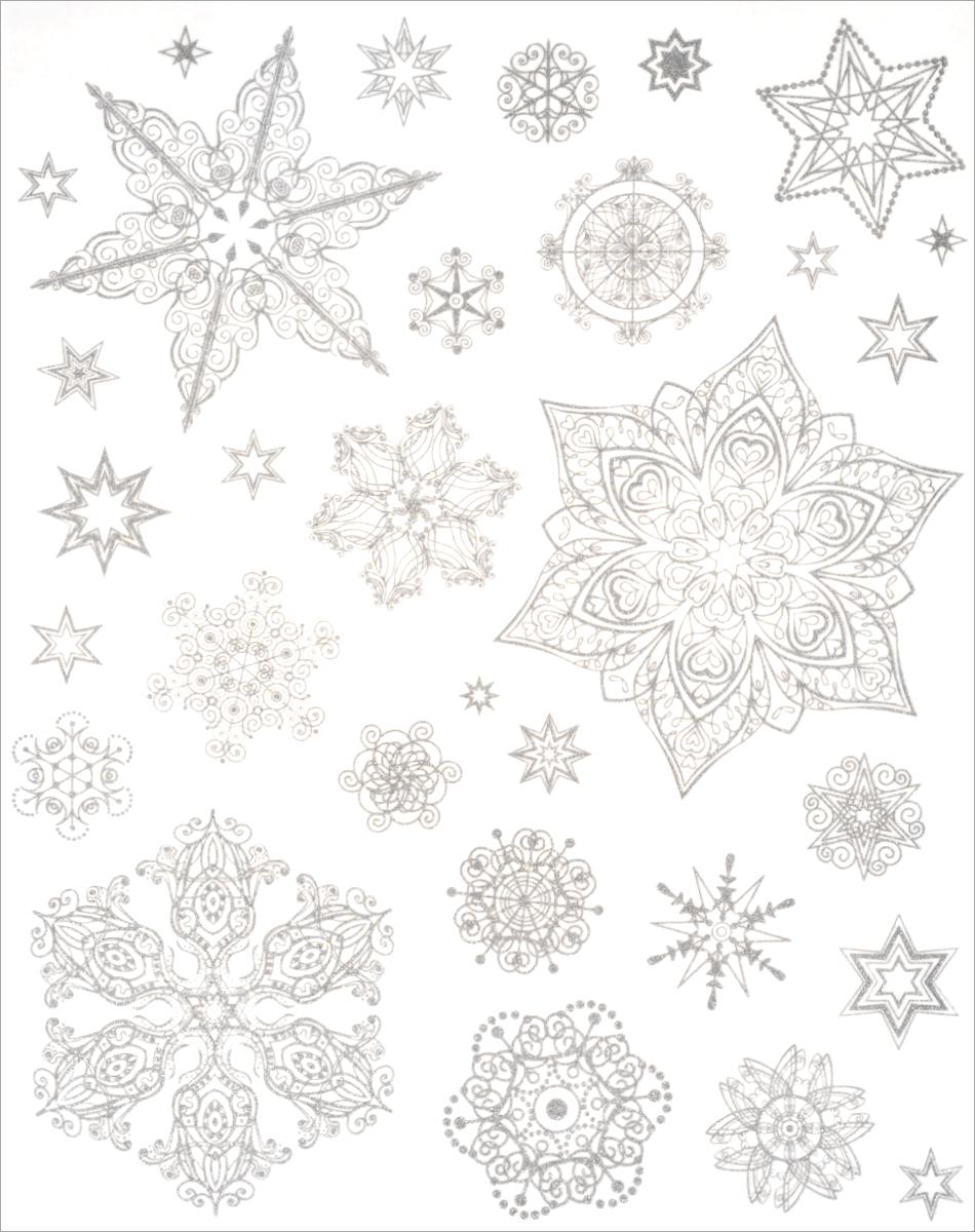 Новогоднее оконное украшение Феникс-Презент Снежинки. 3148731487Новогоднее оконное украшение Феникс-Презент Снежинки поможет украсить дом к предстоящимпраздникам. На одном листе расположены наклейки в виде снежинок, декорированные блестками. Наклейки изготовлены из ПВХ.С помощью этих украшений вы сможете оживить интерьер по своему вкусу, наклеить их на окно, на зеркало.Новогодние украшения всегда несут в себе волшебство и красоту праздника. Создайте в своем доме атмосферу тепла, веселья и радости, украшая его всей семьей. Размер листа: 30 см х 38 см. Диаметр самой большой наклейки: 16 см. Диаметр самой маленькой наклейки: 2 см.