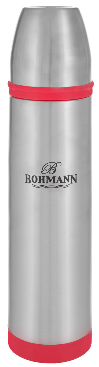 Термос Bohmann, цвет: металлик, красный, 1 л. 4492BHNEW4492BHNEW_красныйТермос Bohmann выполнен из высококачественной нержавеющей стали с матовой полировкой, пластика и силикона. Двойные стенки сохраняют температуру до 24 часов. Внутренняя колба выполнена из высококачественной нержавеющей стали марки 18/10. Термос имеет вакуумную прослойку между внутренней колбой и внешней стенкой. Специальная термоизоляционная прокладка удерживает тепло. Термос снабжен плотно прилегающей закручивающейся пластиковой пробкой с нажимным клапаном и укомплектован теплоизолированной чашкой из нержавеющей стали. Для того чтобы налить содержимое термоса, нет необходимости откручивать пробку. Достаточно надавить на клапан, расположенный в центре. Легкий и удобный термос Bohmann станет незаменимым спутником в ваших поездках.Диаметр чашки (по верхнему краю): 7,5 см. Высота стенки чашки: 7,5 см. Диаметр горлышка термоса: 5 см. Диаметр основания термоса: 8 см. Высота термоса (с учетом крышки): 32,5 см. Объем: 1 л.