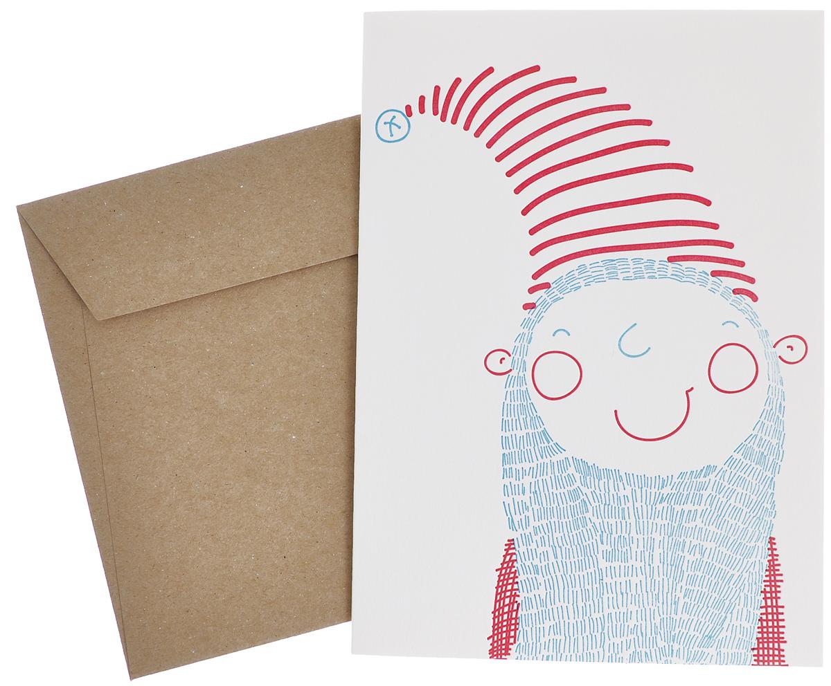 Открытка С Новым Годом! Дед Мороз, с конвертом. Автор Маша СергееваGC020.1Новогодняя открытка Дед Мороз напечатана вручную на старинном прессе способом высокой печати (letterpress). Открытка поставляется в комплекте с конвертом из крафт-бумаги. Размер открытки: 12,5 см х 17,5 см.Размер конверта: 18,5 см х 13,5 см.