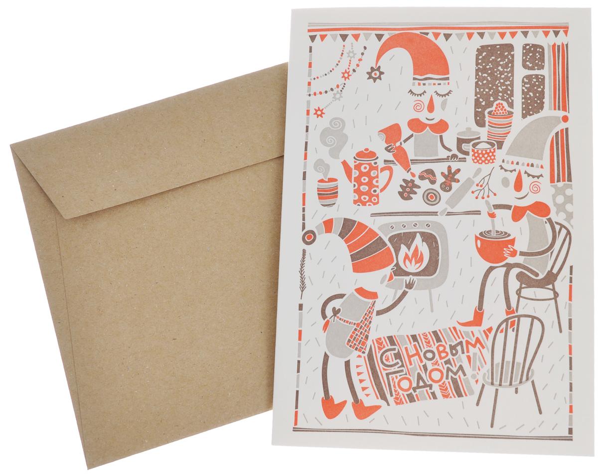 Открытка С Новым Годом! Три гнома, с конвертом. Автор Юлия ДробоваGC017.1Новогодняя открытка Три гнома напечатана вручную на старинном прессе способом высокой печати (letterpress). Открытка поставляется в комплекте с конвертом из крафт-бумаги. Размер открытки: 12,5 см х 17,5 см.Размер конверта: 18,5 см х 13,5 см.