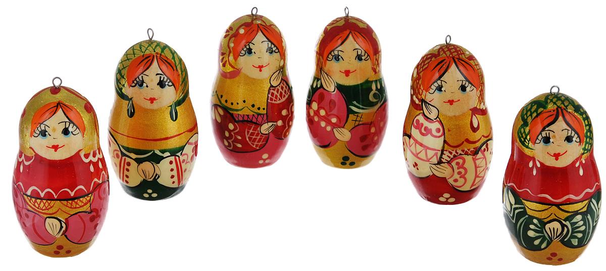 Набор елочных игрушек Василиса Матрешки. Хоровод, 6 шт. Ручная работа набор матрешек василиса разные лица 10 шт ручная работа