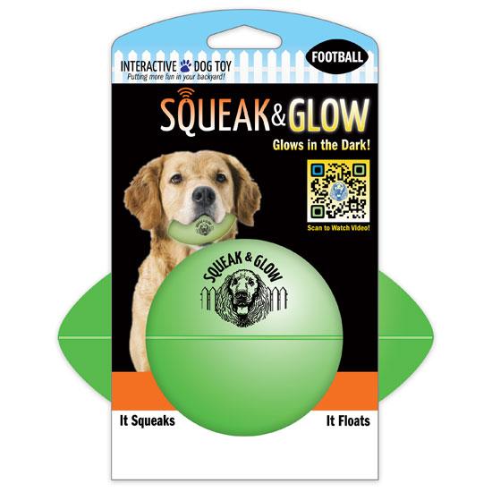 6056 Светящийся, пищащий мяч рэкби Squeak & Glow Football, зеленый - Игрушки