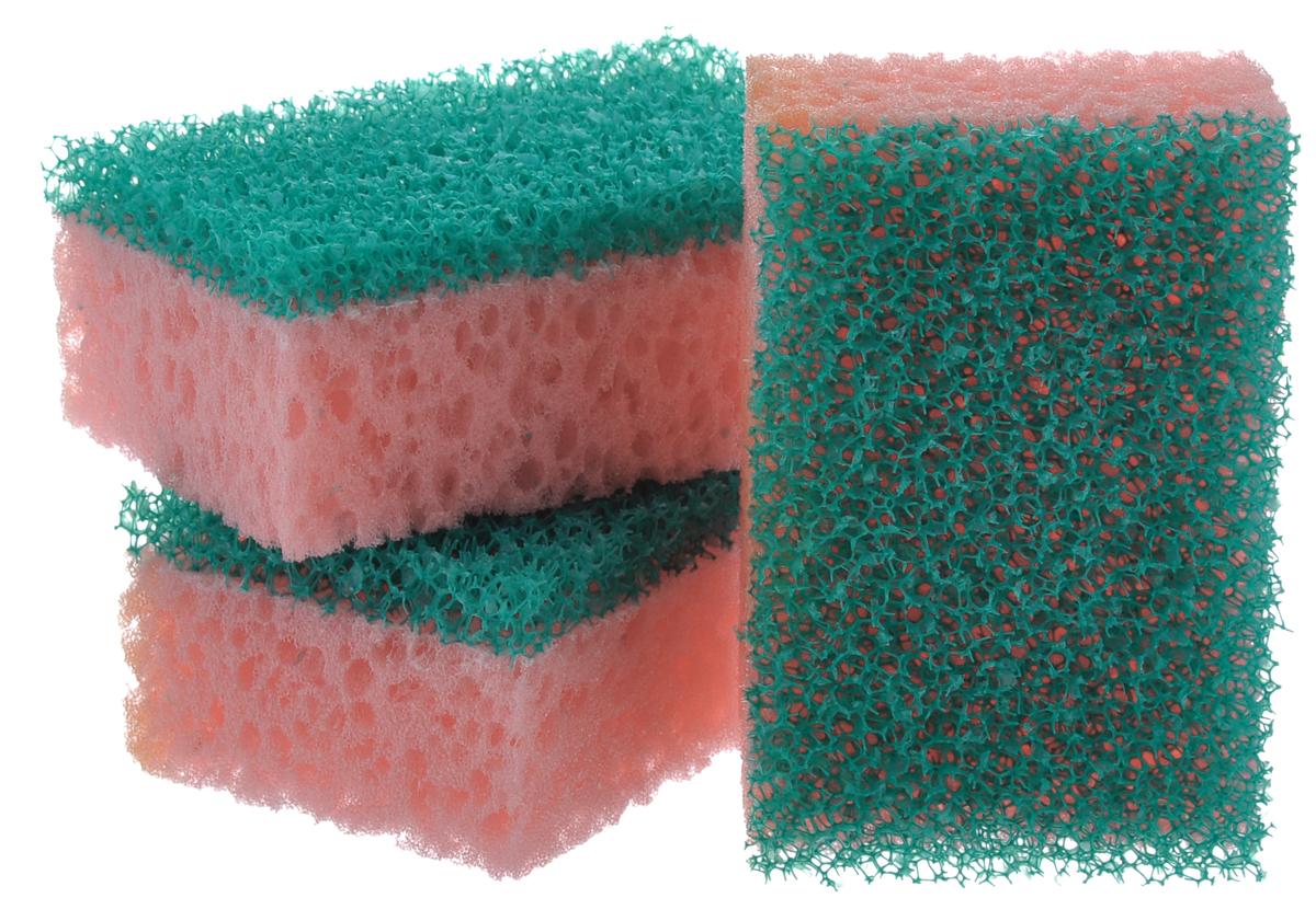 Губка для посуды La Chista Люкс, цвет: розовый, зеленый, 9,5 х 6,5 х 4 см, 3 шт870147_розовый, зеленыйГубка для посуды La Chista Люкс идеально справляется с любыми загрязнениями даже без моющего средства. Выполнена из мягкого поролона и абразивного материала.Особенности изделия: - изготовлены из экологически чистого сырья,- не содержат фреонов и метилгидрохлорида,- высокая плотность поролона экономит моющее средство,- особо прочные абразивные материалы.В комплект входят 3 губки.