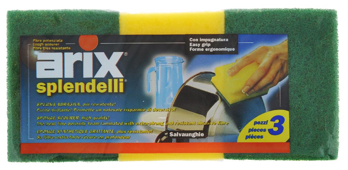 Губки для посуды Arix, цвет: желтый, зеленый, 3 штAR124Губки для посуды Arix идеально справляются с любыми загрязнениями. Изготовлены из поролона и сверхпрочной фибры, имеют анатомическую форму. В наборе - 3 губки.С губками Arix ваша посуда будет чистой!