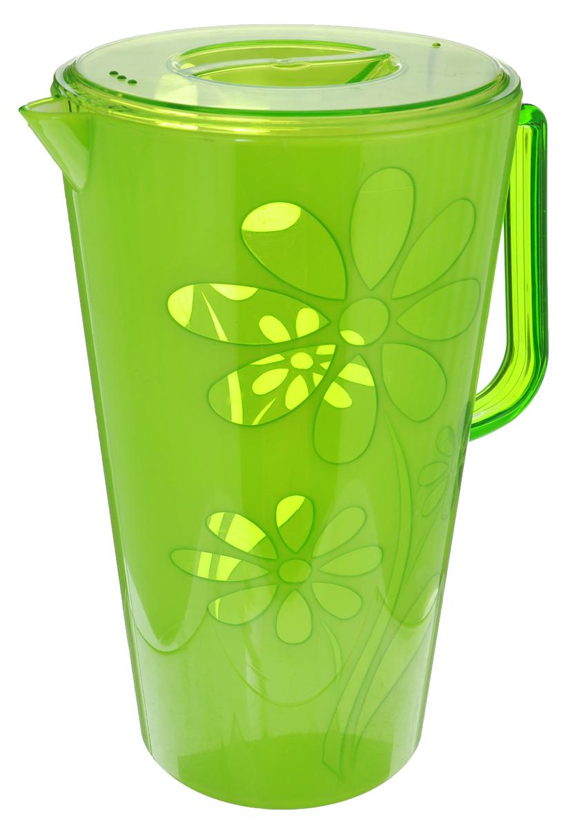 Кувшин Альтернатива Соблазн, с крышкой, цвет: зеленый, 2,5 лМ2304Кувшин Альтернатива Соблазн, выполненный из высококачественного пластика и декорированный цветочным рисунком, элегантно украсит ваш стол. Кувшин оснащен удобной ручкой и плотно закрывающейся пластиковой крышкой. Изделие имеет носик для выливания жидкости. Подойдет для подачи воды, сока, компота и других напитков. Кувшин Альтернатива Соблазн дополнит интерьер вашей кухни и станет замечательным подарком к любому празднику. Объем: 2,5 л. Диаметр (по верхнему краю): 14,5 см.Диаметр основания: 10,5 см.Высота кувшина: 24 см.