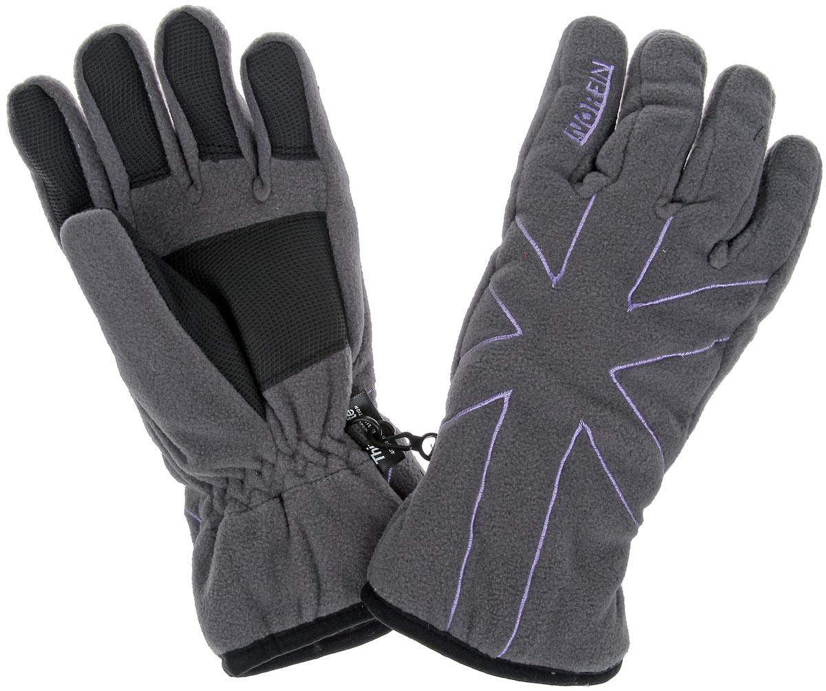 Перчатки женские Norfin Ultimate Protection, цвет: серый, сиреневый, черный. 705065. Размер L (6,5/7)705065Флисовые перчатки Norfin Ardent идеально подойдут для прогулок в холодное время года. Утеплитель Thinsulate хорошо сохраняет тепло. Модель дополнена накладками для более удобной работы с предметами, эластичной резинкой на запястьях и застежкой для скрепления перчаток.