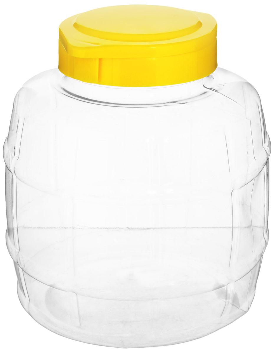 Емкость Альтернатива Бочонок, с крышкой на защелке, цвет: прозрачный, желтый, 3 л