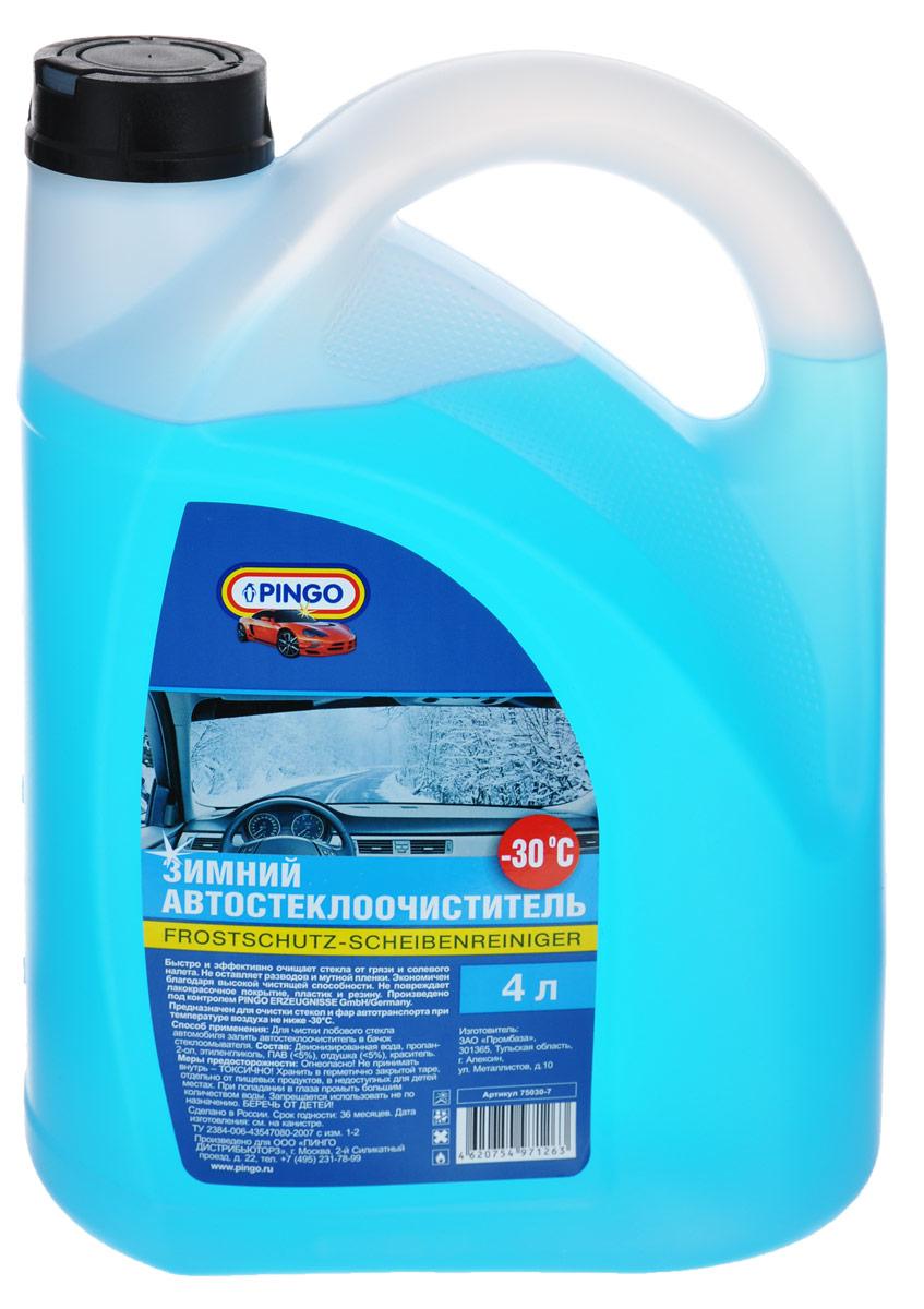 Автостеклоочиститель зимний Pingo, -30°С, 4 л75030-7Автостеклоочиститель Pingo быстро и эффективно очищает стекла от грязи и солевого налета. Не оставляет разводов и мутной пленки. Экономичен благодаря высокой чистящей способности. Не повреждает лакокрасочное покрытие, пластик и резину.Предназначен для очистки стекол и фар автотранспорта при температуре воздуха не ниже -30°С. Состав: деионизированная вода, пропан-2-ол, этиленгликоль, ПАВ (Товар сертифицирован.